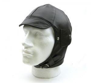 Brooklands Leather Motor Racing Helmet - Black Leather