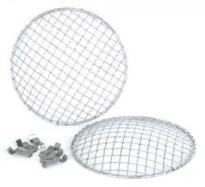 Halcyon 7 Inch Stainless Steel Mesh Headlamp Grill Stoneguard (Pair)