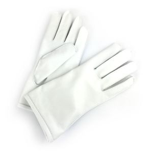 Brooklands Racing Short Cuff Gloves - White Leather