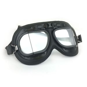 Brooklands Racing Goggles - Black Painted Frames with Black Leather