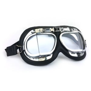 Brooklands Racing Goggles - Chrome Frames with Black Leather