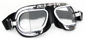 Compact  Motorcycle Goggles - Black Leather