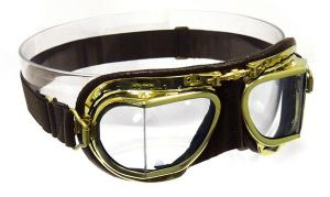 Compact Antique Brass Goggles -  Brown Leather