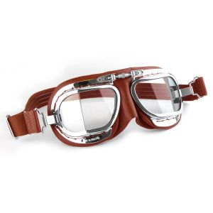 Compact Motorcycle Goggles - Red Leather