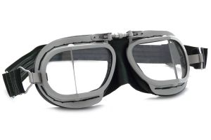 Compact Motorcycle Silver Rider Goggles - Black Leather