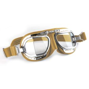 Compact Motorcycle Goggles - Tan Leather