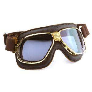 Nannini Cruiser Motorcycle Gold Brown Goggles