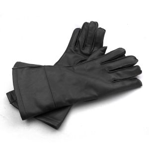 Brooklands Racing Long Cuff Gloves - Black Leather