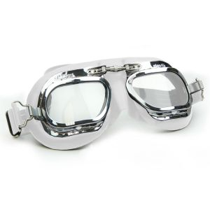 Brooklands Racing Goggles - Chrome Frames with White Leather