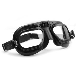 Retro Racing Goggles - Black Leather with Black Frames