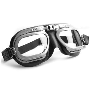 Retro Racing Goggles - Black Leather with Grey Frames