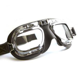 Retro Racing Goggles - Black Leather