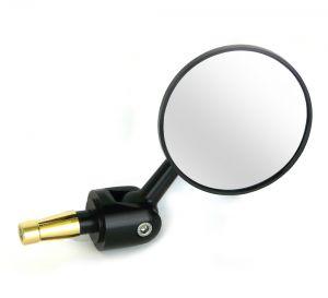 Adjustable Round Bar End Mirror - Black