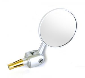Adjustable Round Bar End Mirror - Silver