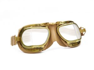 Compact Brass Goggles - Antique Tan Leather