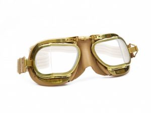 Compact Motorcycle Goggles - Antique Tan Leather