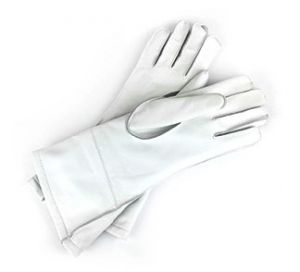 Brooklands Racing Long Cuff Gloves - White Leather