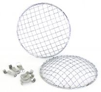 Ratsport 5 3/4 Inch Chrome Mesh Headlamp Grill Stoneguard (Pair)