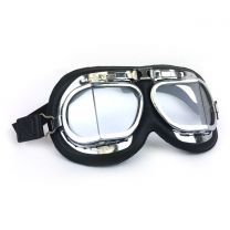 Brooklands Racing Goggles in Black Leather with Chrome Frames