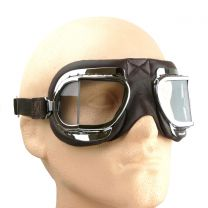 Halcyon Mark 3304 Folding Goggles for Motorcycle and Motorcar Driving - Brown Leather