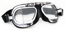 Compact Halcyon Motorcycle Goggles in black leather with chrome frames