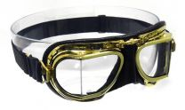 Antique Brass Goggles in black leather with compact frames