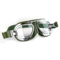 Compact Halcyon Motorcycle Goggles in racing green leather with chrome frames
