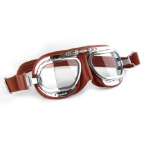 Compact Halcyon Motorcycle Goggles in red leather with chrome frames