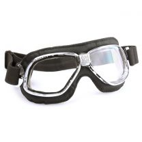 Nannini Cruiser Motorcycle Goggles with Chrome Fames and Real Black Leather