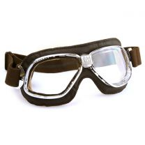 Nannini Cruiser Goggles with Soft Brown Leather and Chrome Brass Frames