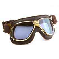 Nannini Cruiser Gold Frames with Brown Leather Motorcycle Goggles