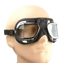 Halcyon Mark 3304 Folding Goggles for Motorcycle and Motorcar Driving - Black Leather