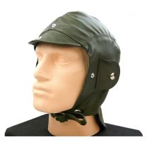 Vintage Driving Helmet - Green Leather