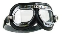 Halcyon Mark 4 Silver Cross Leather Motorcycle Goggles
