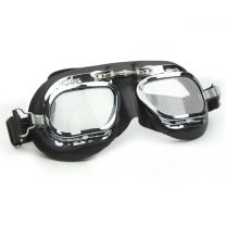 Halcyon Mark 410 Black Leather Motorcycle and Aviator Goggles