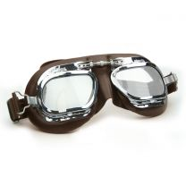Halcyon Mark 410 Brown Leather Motorcycle and Aviator Goggles