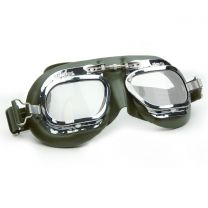 Halcyon Mark 410 Green Leather Motorcycle and Aviator Goggles