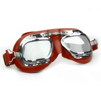 Halcyon Mark 410 Red Leather Motorcycle and Aviator Goggles