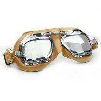Halcyon Mark 410 Tan Leather Motorcycle and Aviator Goggles