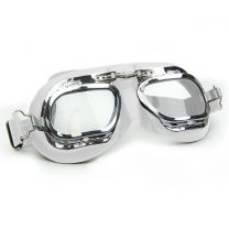 Brooklands Racing Goggles in White Leather with Chrome Frames
