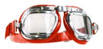 Halcyon Mark 46 Red Leather Motorcycle and Aviator Goggles
