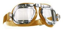 Halcyon Mark 46 Tan Leather Motorcycle and Aviator Goggles