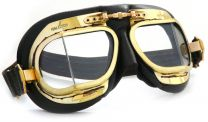 Halcyon Mark 49 Antique Black Leather Motorcycle and Aviator Goggles