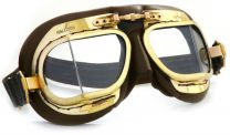 Halcyon Mark 49 Antique Brown Leather Motorcycle and Aviator Goggles