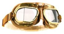 Halcyon Mark 49 Antique Tan Leather Motorcycle and Aviator Goggles