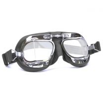 Halcyon Mark 49 Black Leather Motorcycle and Aviator Goggles