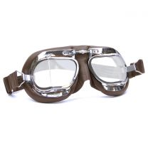 Halcyon Mark 49 Brown Leather Motorcycle and Aviator Goggles