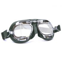 Halcyon Mark 49 Green Leather Motorcycle and Aviator Goggles