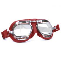 Halcyon Mark 49 Red Leather Motorcycle and Aviator Goggles
