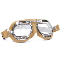 Halcyon Mark 49 Tan Leather Motorcycle and Aviator Goggles